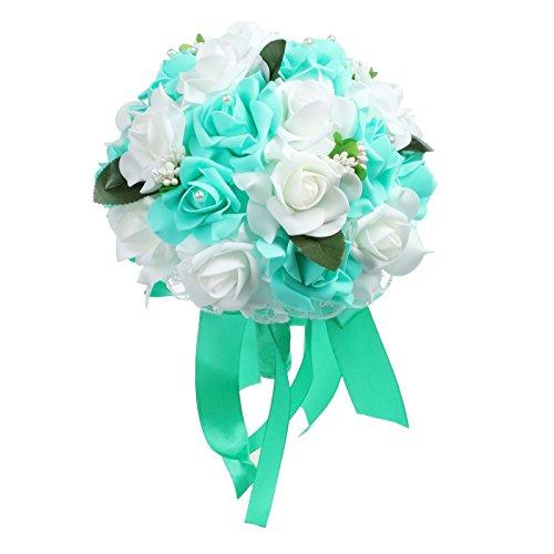 vLoveLife Wedding Bouquet White & Teal Blue Artificial Rose Flowers Bridal Bridesmaid Bouquets Handmade Posy Pearl Rhinestone Ribbon Decor
