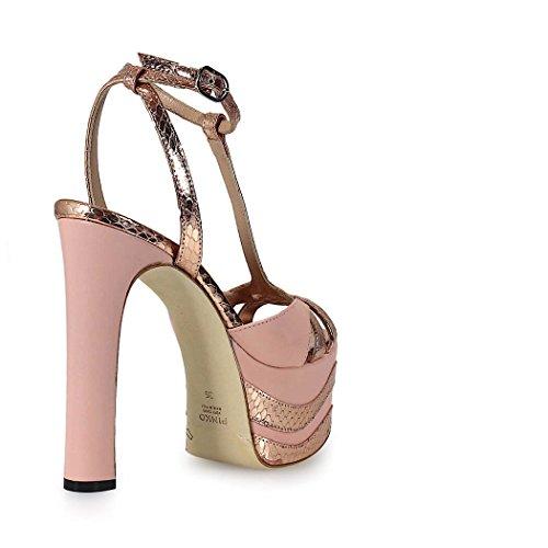 Pinko Sandalo Glitter In Pelle Colore Rosa - Rame, 39