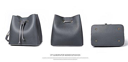 XinMaoYuan señoras bolso Otoño e Invierno bolsos de cuero Bolsos de cuero patrón lichi Drawstring Bolsa de hombro Gris oscuro