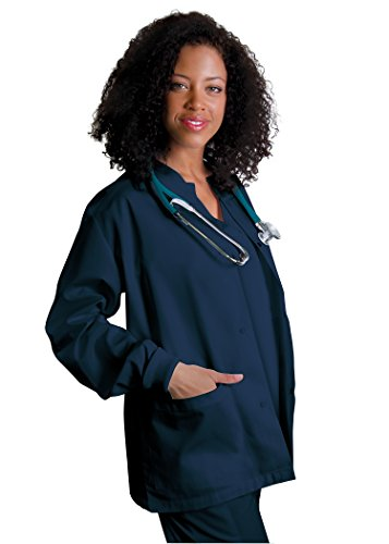 Adar Universal Round Neck Warm-Up Jacket (Available in 39 colors) - 602 - Navy - L (Sleeve Nursing Scrubs)