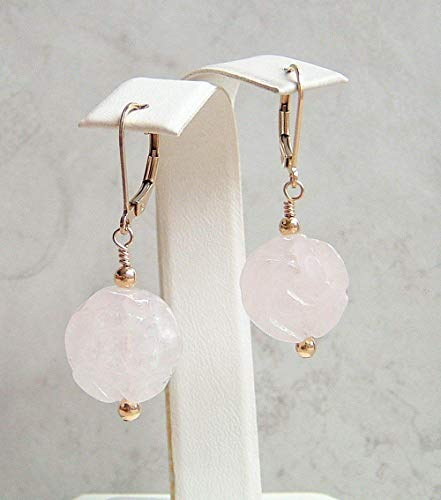 Light Pink Rose Quartz Carved Flower Coin Gold Filled Leverback Earrings Gift Idea ()