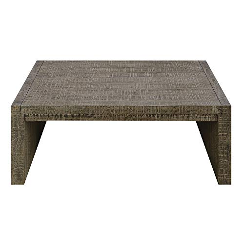 Deckland Square Coffee Table in Mustang Gray with Plank Style Top And Waterfall Ends, by Artum -