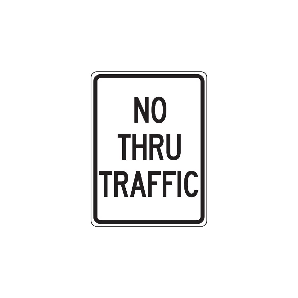 Accuform Signs FRR126RA Engineer Grade Reflective Aluminum Facility Traffic Sign, Legend NO THRU TRAFFIC, 18 Width x 24 Length x 0.080 Thickness, Black on White