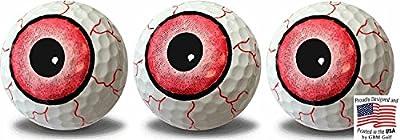 GBM Golf Eyeball Print Novelty Golf Balls Full Wrap Design 3 Pack