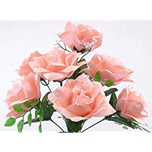 "2 Bushes Lite Peach Open Roses Artificial Silk Flowers 14"" Bouquet 7-039 LPH 40"