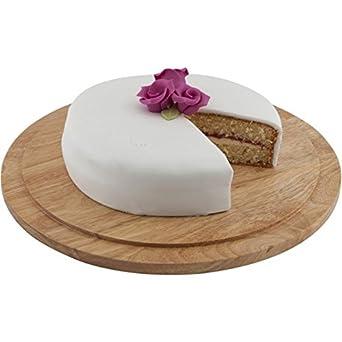 33 cm Genware NEV-WSB33 Round Wood Serving Cake Board