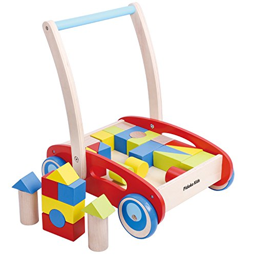 Pidoko Kids Block and Roll Cart - Wooden Push and Pull Toy Activity Baby Walker, Red - Toddler Learning Toys for 1 Year Old, with Blocks (33 Pcs) by Pidoko Kids