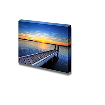 Canvas Prints Wall Art - Beautiful Scenery/Seascape Wood Pier/Jetty at Sunset | Modern Wall Decor/Home Decoration Stretched Gallery Canvas Wrap Giclee Print & Ready to Hang - 24