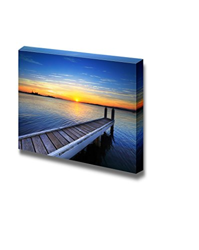 Beautiful Scenery Seascape Wood Pier Jetty at Sunset Wall Decor