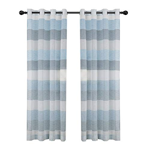 DEZENE Striped Sheer Curtains for Doors with Windows - 2 Panels - Linen Look Grommet Voile Curtains - 54 Inches Width x 84 Inches Long (Total 108