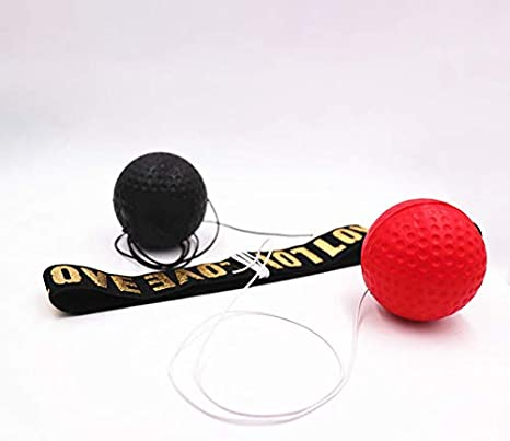 DeeCozy Boxreflexball tragbarer Boxtrainings-Geschwindigkeitsball Verbessern Sie die Reaktionszeitgeschwindigkeit Rot//Schwarz//Gelb Kampfballreflex auf Schnur mit Stirnband Schlagfokuskoordinat