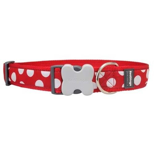 Red Dingo White Spots on Red Dog Collar, Giant Long