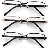 Half Rimmed Rectangular Reading Glasses For Mens - Free Microfiber Cleaning Pouch +1.50 Value 3 Pack