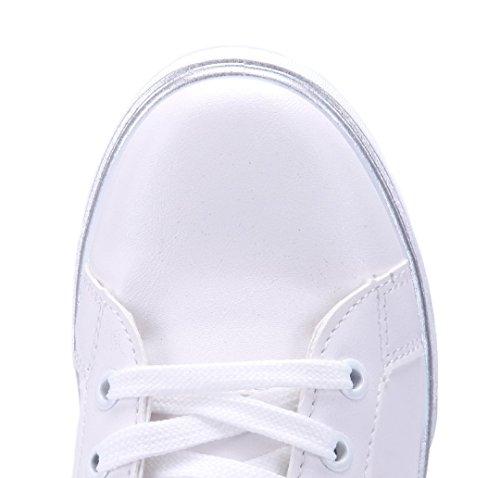 Schuhtempel24 Damen Schuhe Low Sneaker Flach Glitzer Weiß