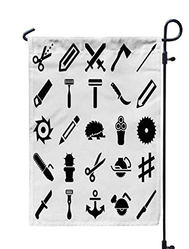 (GROOTEY Welcome Outdoor Garden Flag Home Yard Decorative 12X18 Inches Sharp Icons Editable Filled Sharp Such As Pencil Electric Axe Scissors Cactus Knife Hedgehog Double Sided Seasonal Garden Flags)