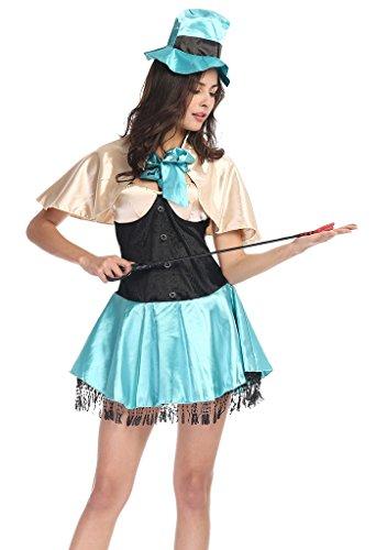 Smile YKK Women Circus Actress Stage Show Magician Costume Set Dress Blue (Circus Magician Costume)