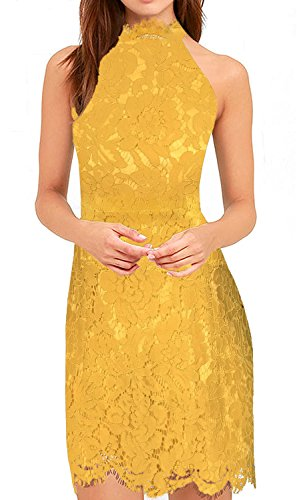 Zalalus Lace Cocktail Dress, Women's Elegant Halter High Neck Sleeveless Weeding Party Guest Sheath Dress Above Knee Length Yellow US 4
