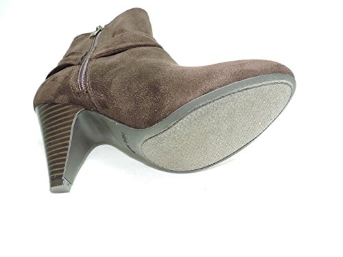 Booties West Nine Suede ankle heels Faux Brown Fashion Womens 3
