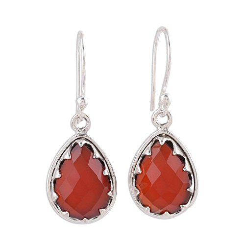 - NOVICA Carnelian .925 Sterling Silver Dangle Earrings 'Firelight'