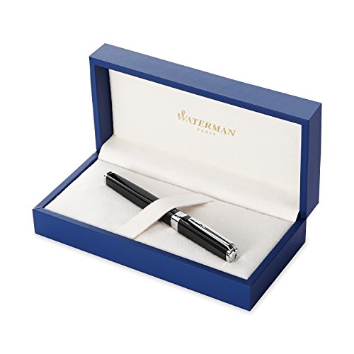 Waterman Exception Slim Blue Lacquer - Waterman Exception Slim Black, Fountain Pen with Fine solid gold nib and Blue ink (S0637010)