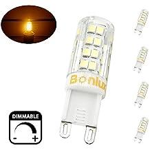 Bonlux G9 LED Dimmable Light, Warm White 4 Watts Replacement for 40 Watts Halogen G9 Bulb, Warm White 3000K, 360 Degree LED G9 Corn Crystal Light for Livingroom Bedroom Lighting