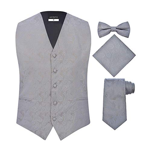 Men's 4 Piece Paisley Vest Set, with Bow Tie, Neck Tie & Pocket Hankie - (M (Chest 42), (Tie Pocket Hankie Set)