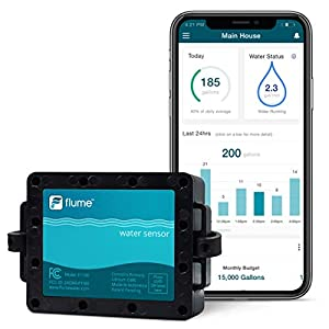 Flume Smart Home Water Sensor – Monitors Water Usage and Lawn Sprinklers – Leak Detector – No Pipe Cutting Easy Install…
