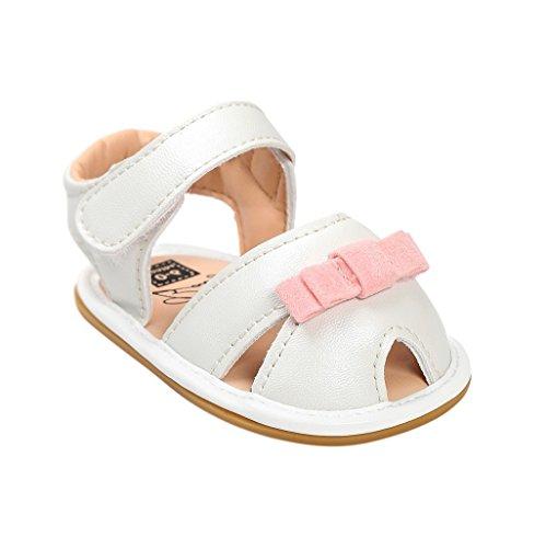 Sandalias de bebé,Auxma Zapatos antirresbaladizos recién nacidos del pesebre de las sandalias del verano del arco de la niña Rosado