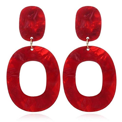MIAIULIA Women Fashion Retro 1980s Style Neon Costume Earring Red Circle ONE SIZE ()