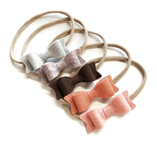 Baby bows and headbands - Newborn to toddler baby girl merino felt bows - SET of 5, MADE IN USA