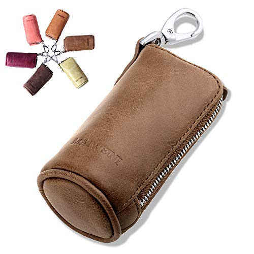 (Multi Soft Genuine Leather Coin Purse Pouch, Car Key Case Wallet with Zipper,Pocket Wallet with Chain/Ring for Men Women)
