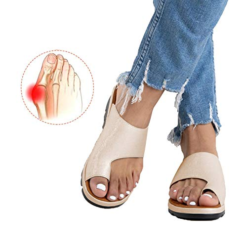 Chenghe Women's Flip Flop Wedge Sandal Comfort Open Toe Thong Slid Slippers Summer Beach Travel Sandal Shoes Golden US - Ladies Shoes Golden