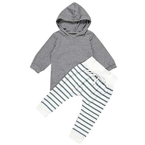 C Babykleding meisjes jongens peuters eenkleurig hoodie sweatshirt + strepen broek bovenkant broekoutfits set pullover…