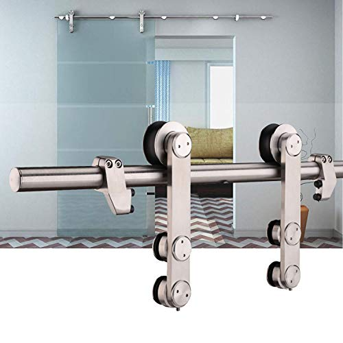 EaseLife 6 FT Heavy Duty Stainless Steel Sliding Glass Door Hardware Track Kit | Modern | Slide Smooth Quiet | Easy Install | Fit up to 36