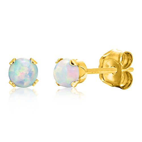 Round 3mm Fire & Snow White Simulated Opal Stud Earrings - 14k Gold over Sterling Silver (Opal 14k White Gold Earrings)