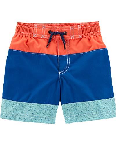 Carter's Toddler Boys' Swim Trunk, Orange/Blue Stripe, 3T