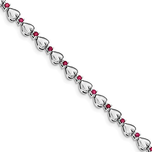 925 Sterling Silver Rhodium plated And Ruby Heart Bracelet