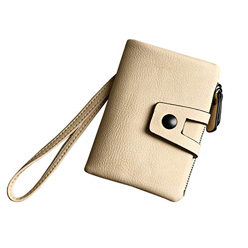 - Women's Small Bifold Leather wallet Rfid blocking Ladies Wristlet with Card holder id window Coin Purse (Beige2)