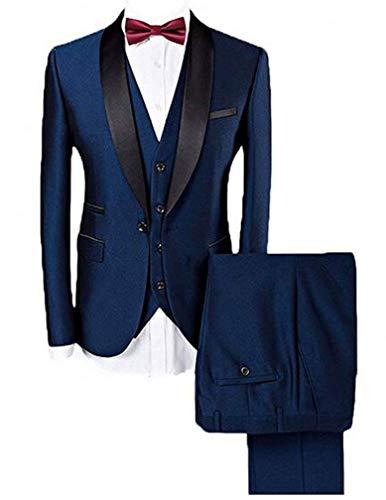 Botong Blue Shawl Lapel Men Suits 3 Pieces Wedding Suits for Men Groom Tuxedos Blue 38 chest / 32 waist