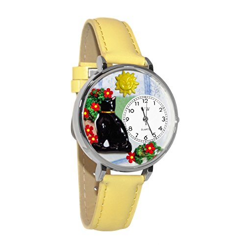 Basking Cat Yellow Leather And Silvertone Watch #WG-U0120010 ()