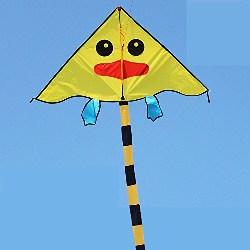 kufox-kite-yellow-duck-ugly-duckling-kite-with-long-tail-size-41130easy-to-fly-high-in-the-skywith-h