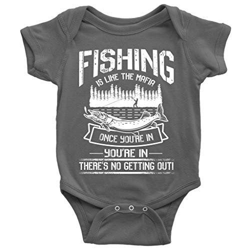 Like The Mafia Baby Bodysuit, Go Fishing Cute Baby Bodysuit (6M, Baby Bodysuit - Dark -