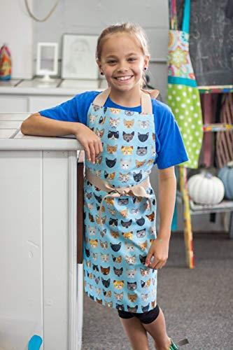 Tween Girl Blue Cats Kitchen Art or Craft Handmade Gift Apron from Sara Sews, Inc.