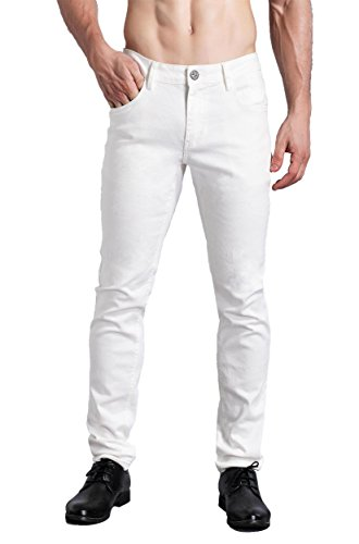 (ZLZ Slim Fit Jeans, Men's Younger-Looking Fashionable Colorful Super Comfy Stretch Skinny Fit Denim Jeans (31, White))