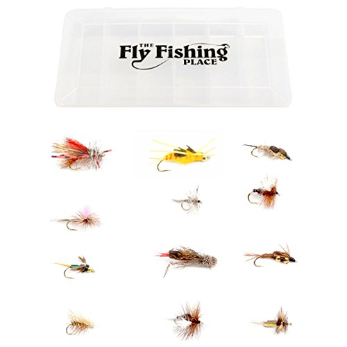 Western Trout Fly Assortment - Essential Dry and Nymph Fly Fishing Flies Collection - 1 Dozen Trout Flies with Fly Box