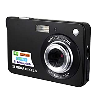 Fansiqiang 21M Pixels Children Digital Camera 2.7 inch Vividness Display Card Style Digital Photo Video Record Camera HD 8X Zooming Saucy Automatic Camera(Black) (Color : Black)