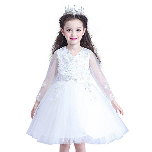 GuaGuaEgg Lace Embroider Beading Girls Party Princess Dress White 14 ()
