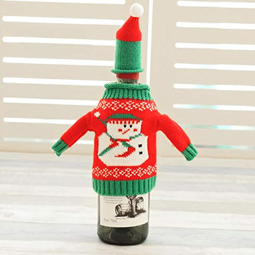 Pendant Drop Ornaments - Nhbr 1pcs Fashionclubs Christmas Wine Bottle Knitted Ugly Sweater Covers Set - Pyramid Laser Couple Wine Unicorn Bottle Women Ugly Santa Globe