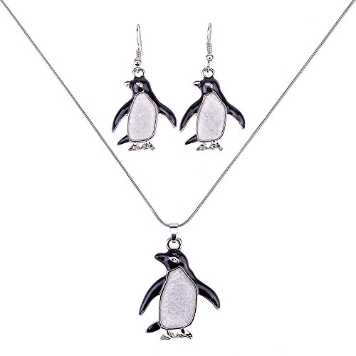 Liavy's Penguin Charm Pendant Fashionable Necklace & Earrings Set - Mother of Pearl Shell - Enamel - Sparkling Crystal - Fish Hook - 17