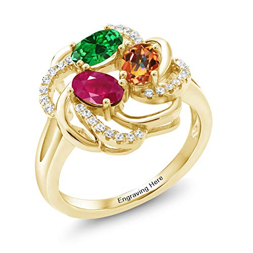 Gem Stone King Build Your Own Ring - Personalized 3 Birthstone Flower Blossom Ring in Rhodium Plated 925 Yellow Gold Plated Silver (Size 9)